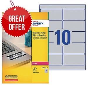 Avery L6012-20 Resistant Labels, 96 x 50.8 mm, 10 Labels Per Sheet