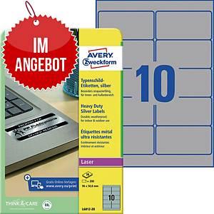 Typenschild-Etiketten Avery Zweckform L6012-20, 96x50,8mm (LxB),silber, 200 St.