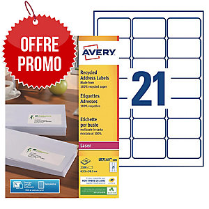 Boite 2100 étiquettes adresses recyclees laser blanches Avery 63,5x38,1mm lr7160