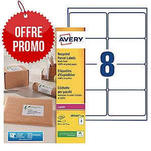 Boite 800 étiquettes d expedition recyclees laser Avery 99,1x67,7mm lr7165