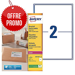 Boite 200 étiquettes d expedition recyclees laser Avery 199,6x143,5mm lr7168