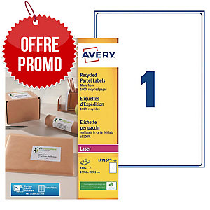 Boite 100 étiquettes d expedition recyclees laser Avery 199,6x289,1mm lr7167