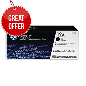 HP 12A 2-pack Black Original LaserJet Toner Cartridges (Q2612AD)