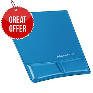 Fellowes 91822 Mouse Pad Wrist SuPPort With Microban Crystal Gel Blue