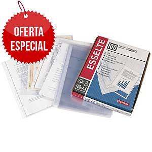 Pack de 100 micas multifuro Esselte - A4 - PP rugoso - 80 μ