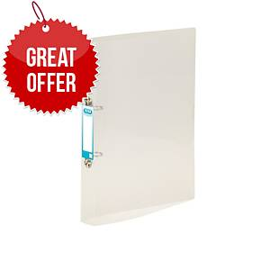Elba Snap Ring Binder A4 20mm Cap, 40mm Spine 2 O-Ring Clear - Pack of 10