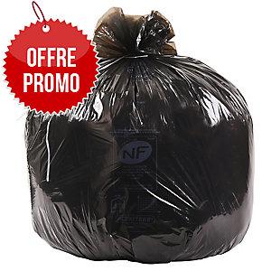 Carton de 500 sacs poubelle economiques noir 100L 20 microns déchets légers