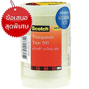 SCOTCH เทปใสรุ่น5001นิ้วx36หลา แกน3นิ้ว แพ็ค 6 ม้วน