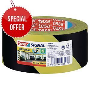 tesa®  58133 signal universal adhesive tape yellow/black, 50 mm x 66 m