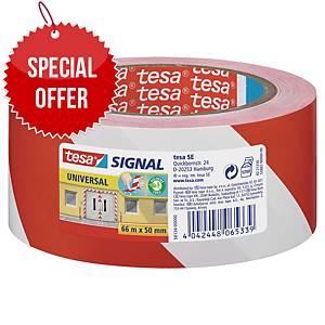 tesa® 58134 signal adhesive tape red/white, 50 mm x 66 m