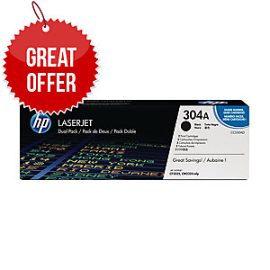 HP 304A 2-pack Black Original LaserJet Toner Cartridges (CC530AD)