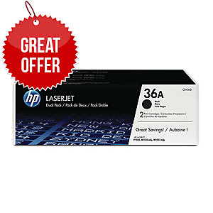 HP 36A 2-pack Black Original LaserJet Toner Cartridges (CB436AD)