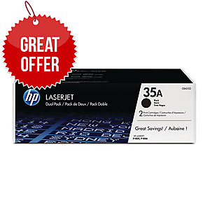 HP 35A 2-pack Black Original LaserJet Toner Cartridges (CB435AD)