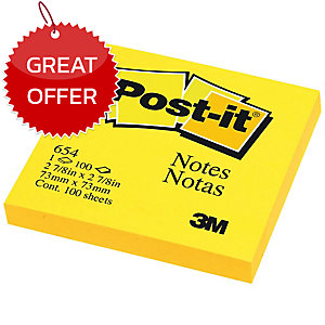 POST-IT 654 NEON NOTES 3   X 3   - NEON YELLOW