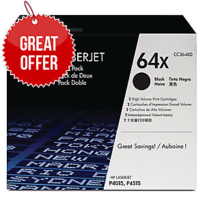 HP 64X 2-pack High Yield Black Original LaserJet Toner Cartridges (CC364XD)