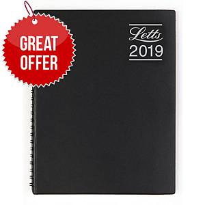 Letts Rhino A5 Diary Black - Week To View