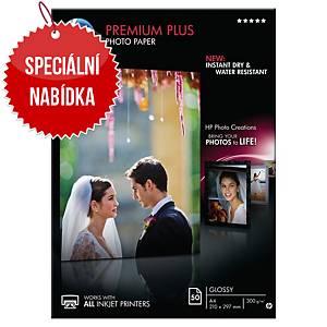 Fotopapír HP Premium + CR674A, 300g/m2,  A4, balení 50 listů, lesklý