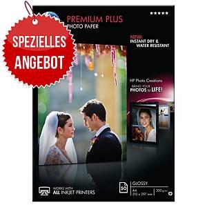 HP Premium Fotopapier+ CR674A, A4, 300 g/m², glänzend, 50 Blatt