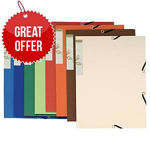 Exacompta Forever Recycled A4 3 Flap Folders, Assorted Colours - Pack 25