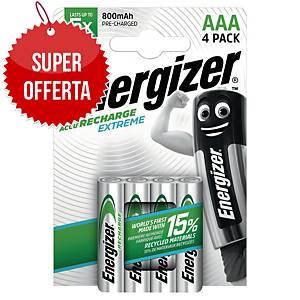 Batterie ricaricabili Energizer Extreme HR03 AAA 800mAh ministilo 1,2V - conf. 4