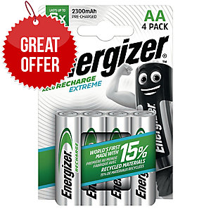Energizer Rechargeable Batteries Hr6/AA 2300Mah - Pack Of 4
