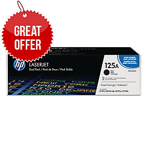 HP 125A 2-pack Black Original LaserJet Toner Cartridges (CB540AD)