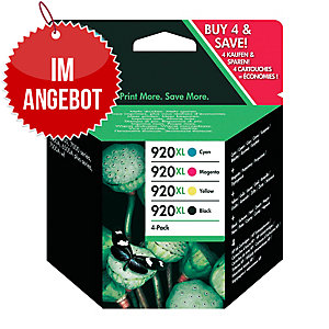 Tintenpatrone HP C2N92AE - 920XL, Reichw.: 1.200/700 S, Multipack 4, c/g/m/sw