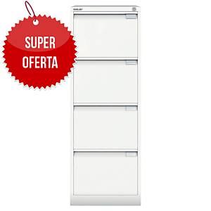 Szafa kartotekowa BISLEY, 4 szuflady, waga 55 kg, 132 x 47 x 62 cm, biała