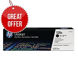 HP 128A 2-pack Black Original LaserJet Toner Cartridges (CE320AD)