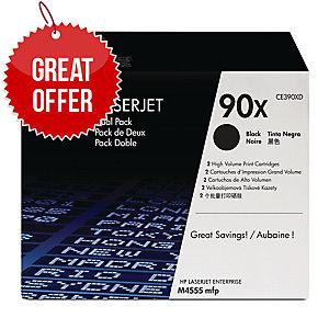 HP 90X 2-pack High Yield Black Original LaserJet Toner Cartridges (CE390XD)