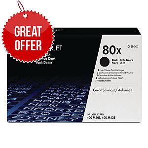 HP 80X 2-pack High Yield Black Original LaserJet Toner Cartridges (CF280XD)