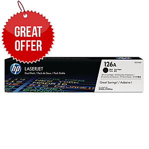 HP 126A 2-pack Black Original LaserJet Toner Cartridges (CE310AD)