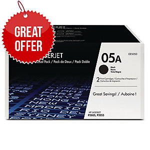 HP 05A 2-pack Black Original LaserJet Toner Cartridges (CE505D)