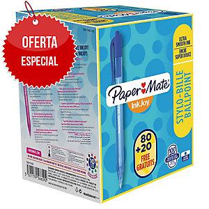 Pack ahorro 80+20 bolígrafos retráctiles PAPERMATE I InkJoy 100 de color azul