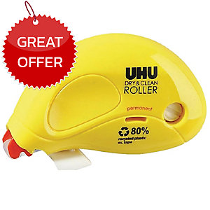 UHU DRY AND CLEAN GLUE ROLLER PERMANENT 6.5MM X 8.5M