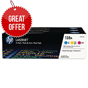 HP 128A 3-pack Cyan/Magenta/Yellow Original LaserJet Toner Cartridges (CF371AM)