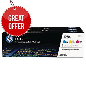 HP 128A 3-pack Cyan/Magenta/Yellow Original LaserJet Toner Cartridges (CF371AM)