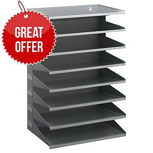 Durable Metal Sorter Rack Grey With 8 Trays