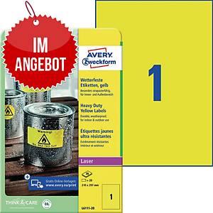 Wetterfeste Etiketten Avery Zweckform L6111-20, 210x297mm (LxB), gelb, 20 St.