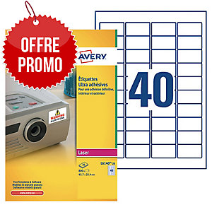 Boite 800 étiquettes ultra adhesives laser Avery 45,7x25,4mm blanches l6140