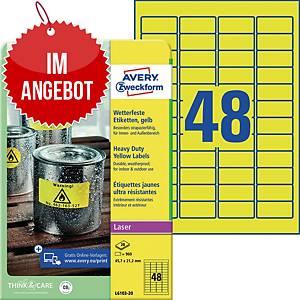 Wetterfeste Etiketten Avery Zweckform L6103-20, 45,7x21,2mm (LxB), gelb, 960 St.