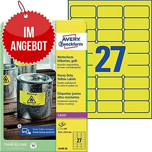 Wetterfeste Etiketten Avery Zweckform L6105-20, 63,5x29,6mm (LxB), gelb 480 St.