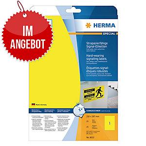 Folien-Etiketten Herma 8033 Signalschilder, 297 x 210mm (LxB), gelb, 25 Stück