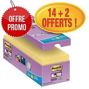 Notes Post-it Super Sticky - 76 x 76 mm - jaunes - 16 blocs x 90 feuilles