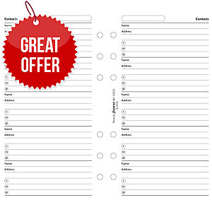 FILOFAX PERSONAL DESK ORGANISER REFILL INSERTS - NAME AND ADDRESS SHEETS