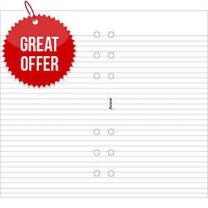FILOFAX PERSONAL DESK ORGANISER REFILL INSERTS - RULED WHITE PAPER