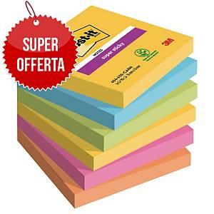 Foglietti Post-it® adesivo Super Sticky kit 6 blocchetti 76x76mm rio de janeiro