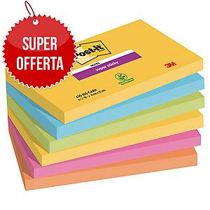 FOGLIETTI POST-IT® ADESIVO SUPER STICKY: KIT 6 BLOCCHETTI 76x127MM RIO