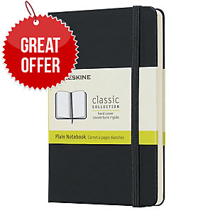MOLESKINE QP012 HARDCOVER NOTEBOOK POCKET PLAIN BLACK