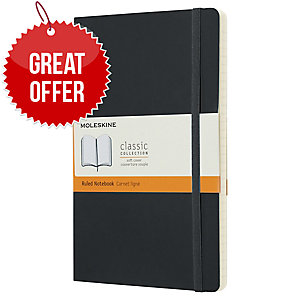 MOLESKINE QP616 SOFTCOVER NOTEBOOK LARGE RULED BLACK